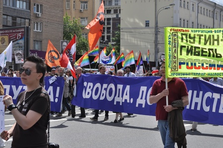 Protest march in support of political prisoners. Moscow, June 2013.