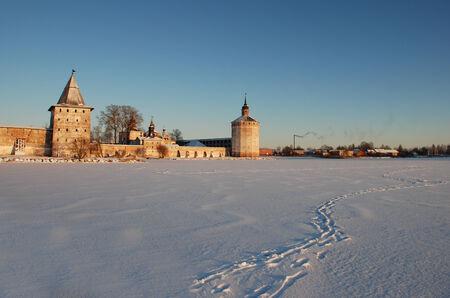 Kirillo-Belozersky monastery in a winter landscape at sunset  Vologda region, Russia  Stock Photo