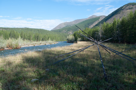 Russia, Yakutia  The landscape of the mountain river clear summer morning