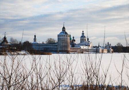 Photo of the Kirillo-Belozersky monastery in a winter landscape at sunset  Vologda region, Russia