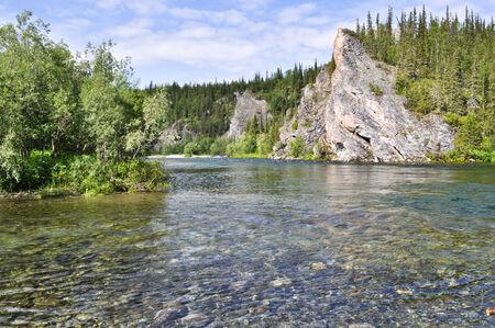 North river landscape. The polar Urals, the river Lemva, Republic of Komi, Russia.