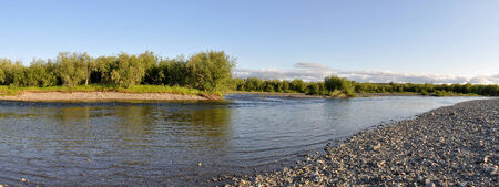 Panoramic river landscape in the polar Urals. Summer in the Russian North is short and beautiful. photo