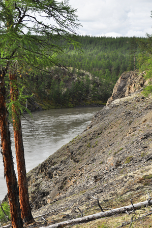 Canyon of the mountain river in Yakutia. Ridge Suntar-khayata, river Suntar, Russia.