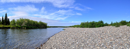 Panorama of the Northern Ural river under the sun. Pebble beach, transparent rifts and bushes.