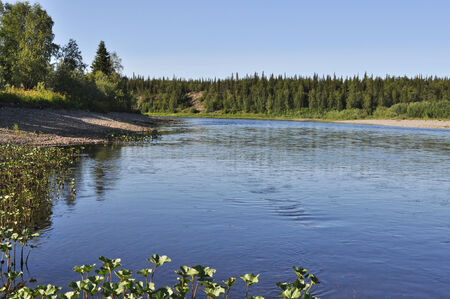 The pebble beach of the Ural river.Taiga river Pag, Russia, the Polar Urals. Stock Photo