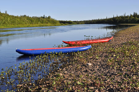 urals: Taiga river Paga, Russia, the Polar Urals.  Inflatable kayaks on the shore of the river.