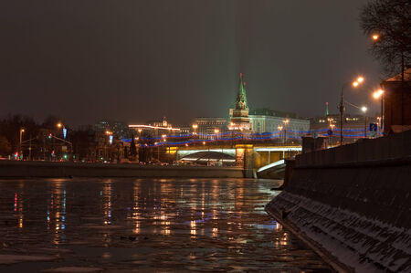 unesco world cultural heritage: The UNESCO world cultural heritage site by UNESCO - Moscow Kremlin at night. View of the Moscow Kremlin and the Bolshoy Kamenny bridge at night.