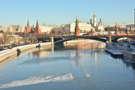 unesco world cultural heritage: Russia, river-Moscow. The Moscow Kremlin is a UNESCO world cultural heritage site by UNESCO. Stock Photo