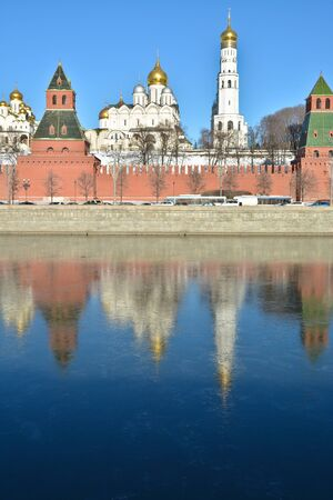 Sights of Moscow, photographed clear February morning. Kremlin embankment, wall and churches of the Kremlin. Stock Photo