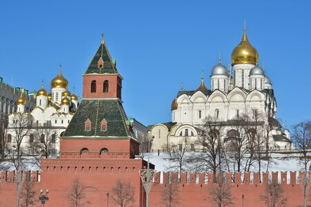 sights of moscow: Sights of Moscow, photographed clear February morning. Golden domes of churches in the Moscow Kremlin.