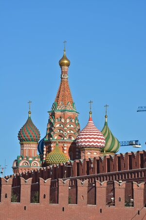 Sights of Moscow, photographed clear February morning. Domes of St. Basil