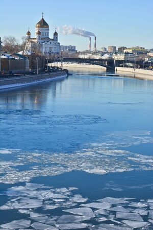 Sights of Moscow, photographed clear February morning. Moscow river, the Kremlin and the Cathedral of Christ the Savior.