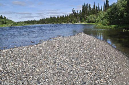 boreal: landscape of the Northern boreal river. River Lemva, Republic of Komi, Polar Urals, Russia.