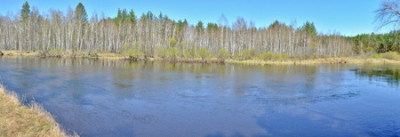 Panoramic landscape forest river in spring season in the national Park of Russia. Stock Photo