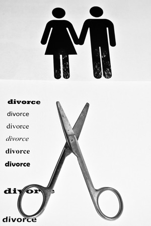 separation: The divorce and separation. A symbolic representation of the decay of a pair of men and women.