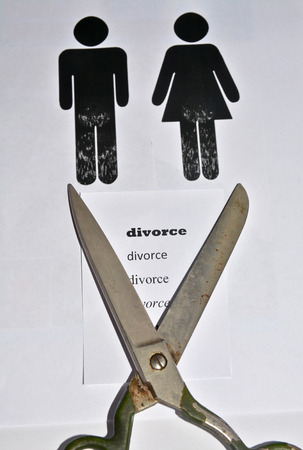 proceeding: The divorce and separation. A symbolic representation of the decay of a pair of men and women.