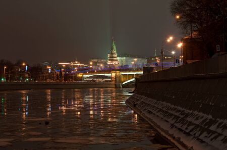 world cultural heritage: The UNESCO world cultural heritage site by UNESCO - Moscow Kremlin at night. View of the Moscow Kremlin and the Bolshoy Kamenny bridge at night.