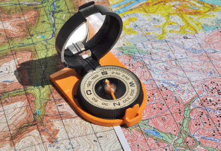 azimuth: Maps and compass. Compass on the map - this is the open door to the country adventure.