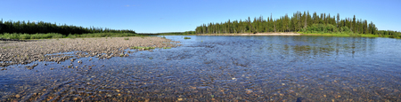 urals: Panorama of the Northern rivers. Virgin Komi forests, Polar Urals, Russia. Stock Photo