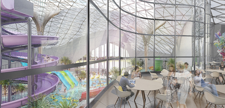 greatest: The interior of the Park. The project is a modern water Park with glass walls and natural lighting.