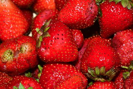 medium group of objects: Ripe strawberries. Bright red wet berries strawberry close-up.