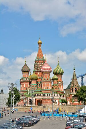 world cultural heritage: St. Basils Cathedral. St. Basils Cathedral on red Square in Moscow - the world cultural heritage of UNESCO. Stock Photo