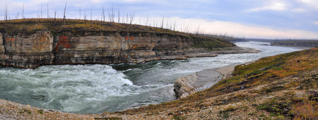 Panorama of rapid in a rocky canyon. The Fish river canyon on the Putorana plateau.