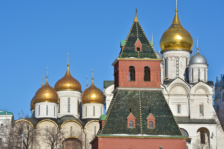 The Kremlin churches. The walls of the Kremlin and churches from the side of the Moscow river. Stock Photo