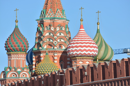 St. Basils Cathedral. Domes of St. Basils Cathedral on red square in the Kremlin.