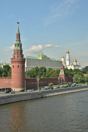 red star: Tower Of The Moscow Kremlin. Tower and part of the wall of the Kremlin on a summer day. Stock Photo