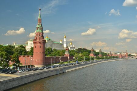 The Moscow Kremlin. The embankment of the Moscow river near the Kremlin.
