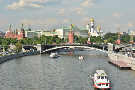pleasure craft: Pleasure craft near the Moscow Kremlin. The embankment of the Moscow river near the Kremlin. Stock Photo