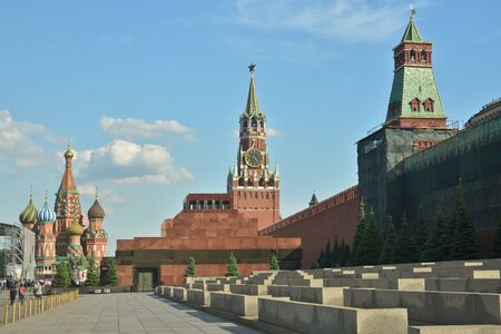 The Kremlin and Lenins mausoleum. Red square in Moscow on a Sunny summer day.