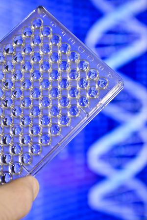 pcr: DNA testing in genetic laboratories. Biological scientific equipment.