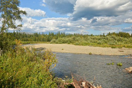 the taiga: River in the mountain taiga of the Northern Urals.