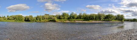 panoramas: Panoramic river landscape in the polar Urals. Summer in the Russian North is short and beautiful.