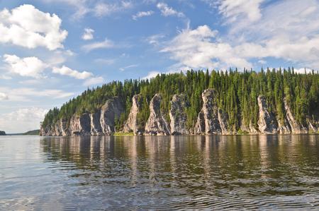 river banks: Rocks along the river banks. National Park Yugid-VA in the Northern Urals.