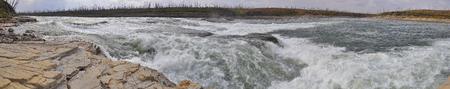 threshold: Rocky rapids on a Northern river. The threshold Oron on the river Fish, the Putorana plateau. Stock Photo
