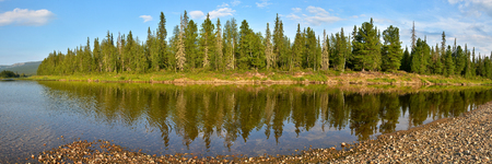 the taiga: Panorama of the taiga river in the national Park. Stock Photo