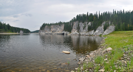 urals: Panorama of North river protected. The Northern Urals. The national Park Yugyd VA, the object of UNESCO world heritage site Virgin Komi forests. Stock Photo