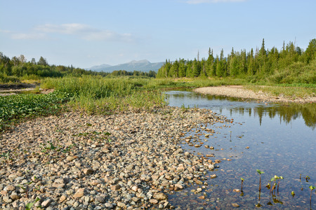 world natural heritage: The pebbly shores of the river Shchugor in the national Park Yugyd VA. The object of the world natural heritage site Virgin Komi forests. Northern Urals, Russia.