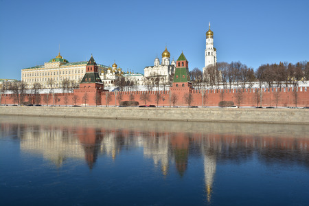 Moscow river and the Kremlin. Cityscape in the capital of Russia Moscow. Imagens