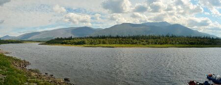 urals: River panorama in a national Park in the Northern Urals. Virgin Komi forests - world heritage of UNESCO.
