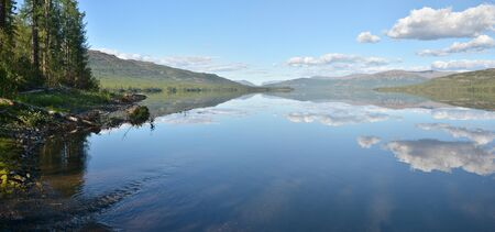 clear waters: Panorama. Lake in the Putorana plateau. Summer water landscape in Taimyr.