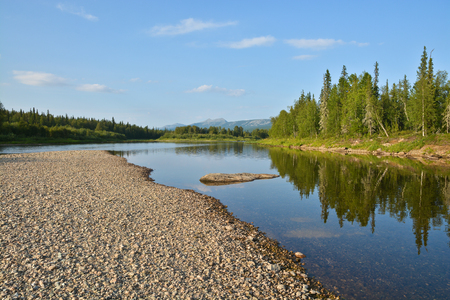 va: North river in the national Park Yugyd VA. Virgin forests of Komi Republic, Northern Urals. Stock Photo