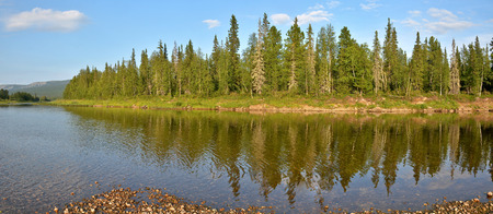 Panorama of the taiga river in the national Park. e Virgin Komi forests.