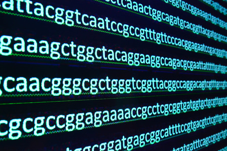 acids: Modern technology: DNA sequencing. The letter symbols sequence of nucleotide bases in nucleic acids. Stock Photo