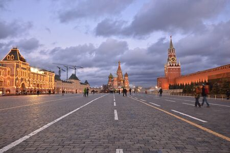spasskaya: Evening on the Red Square of Moscow. Center of the Russian capital. Stock Photo