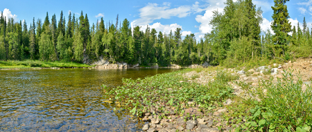 Panorama of North river protected. The Northern Urals. The national Park Yugyd VA, the object of UNESCO world heritage site Virgin Komi forests. Stock Photo