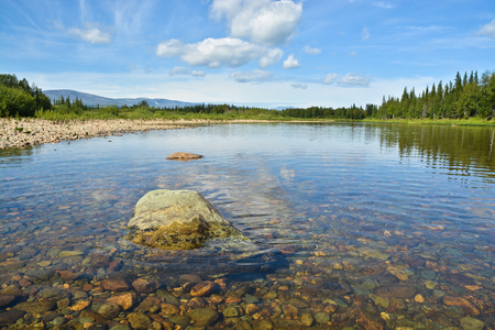 Summer landscape of the river Shchugor in the Northern Urals. The object of UNESCO world heritage site Virgin Komi forests in the national Park Yugyd VA. Stock Photo